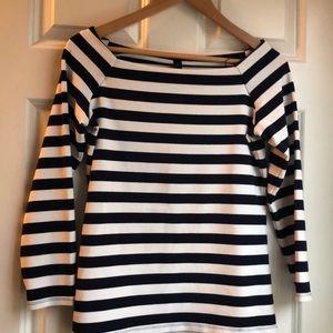 J Crew navy & white striped shirt